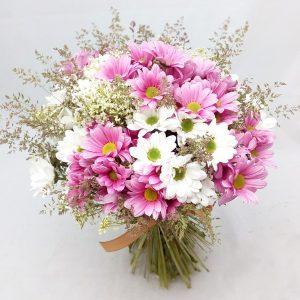 dárková kytice růžovobílá