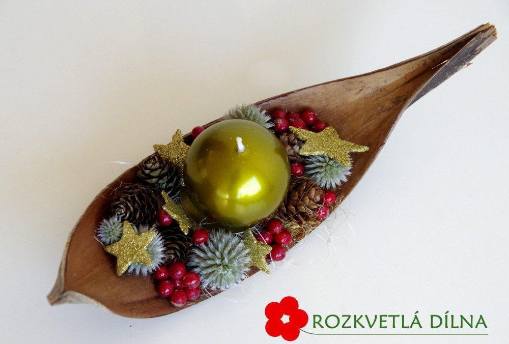 svícen_vánoční_loďka_zelená