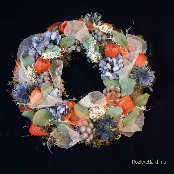 Modro-oranžový - závěsný věnec