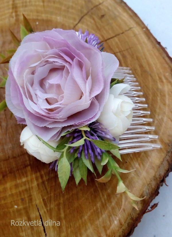 Květinový hřebínek - do fialova