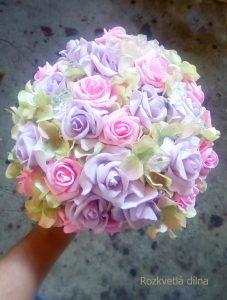 Růžovo-fialová umělá kytice