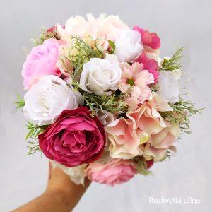 Umělá svatební kytice růžová